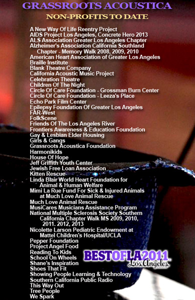 Grassroots Acoustica Non Profits to Date